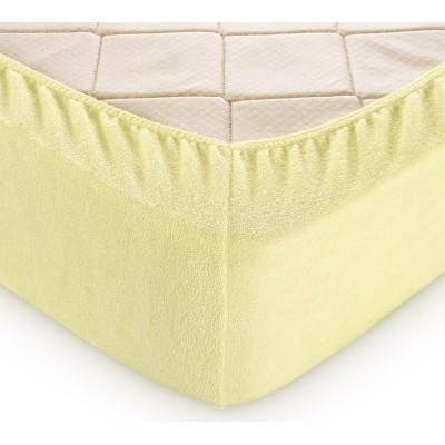 Махровая простыня на резинке (Желтая)